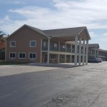 New hotel building and parking lot.