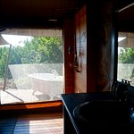 Spacious bathroom and a soaking tub in the honeymoon suite