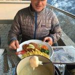 Fondue & schnitzel on the restaurant's balcony