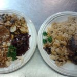 Veal Marsala(I think) on left, Eisbein on right