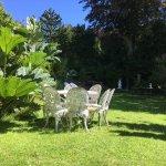 Sunny sheltered garden terrace.