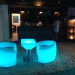 Funky glowing furniture in the Raalhu bar