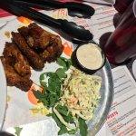 Family dinner. Vegetarian dishes + wings