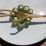 Chef Andy's Mackerel Pate with cucumber ribbons and cucumber jelly. Stag grissini.
