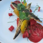 Brading oak-smoked mackerel with The Pond's pickled heritage beetroot.