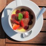 Lemon posset using Briddlesford double cream and Living Larder rhubarb in the compote,