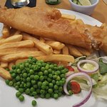 My Fish and Chips after I had put my Peas on my plate and cut into the fish.