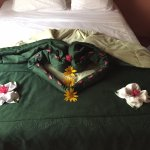 Lovely native flower arrangement on our bed!
