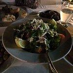Roka salad with cheese.