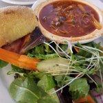Chicken Tom Yum Soup, Salad and 1/2 Prosciutto Sandwich