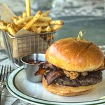 Enjoy a delicious burger and fries for lunch