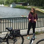 At Olympic rowing course in Amsterdam Forest. Guide Melissa recounts absorbing back story.
