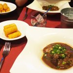 Wild boar stew and potato croquettes.