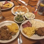 fried chicken livers, cheesy potato casserole, sampler melon the right