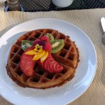 Hartzell House: Belgian waffle with their homemade ginger syrup that's deeelish!