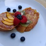 Hartzell House: French Toast stuffed with chevre and berries