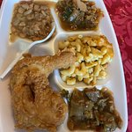 Fried chicken, mac, lima beans and stewed cabbage