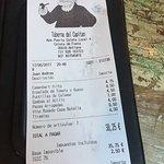 Menu last week & our bill