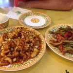 Left) Chicken with vegetables and peanuts; right) pork with vegetables. Super good!!!!