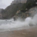 Water crashing into beach at Dubrovnik.