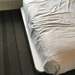 Unmade bed in room