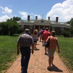 Tour group approaching the east entrance to Monticello