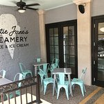There is covered outdoor seating to enjoy your delicacies!