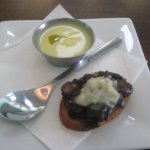 chilled squash soup and mushroom crostini
