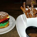 Lucy's Sweet Ending. Coconut hamburger - yellow cake bun stuffed with chocolate fudge.