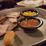 BBQ Meat plate w/baked beans and corn