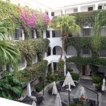 Winchester Mansions courtyard and bouganvillea