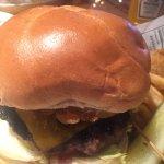 My burger and a chicken sandwich behind