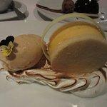 Dessert-deconstructed lemon pie with homemade caramel ice cream with Maras salt.