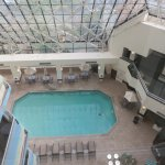 View of the lobby pool from the elevator windows
