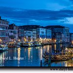 View from Rialto Bridge, Venice Italy at night