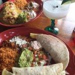 shrimp tacos and steak fajita chimichanga