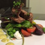 Marinated Lamb Rump - Salad of baby beets, heirloom tomatoes, goats cheese & rocket