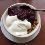 House made granola, berry compote, yogurt - delicious, great fuel for the days hike.