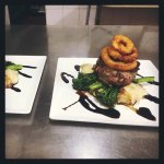 Eye Fillet on Potato Mash, Broccolini, Onion Rings & Balsamic Glaze