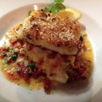 Panko-crusted halibut in a mediterranean sauce