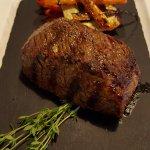steak and garnish