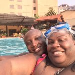 Having a blast in the pool with my love.