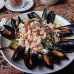 The Special Capellini with mussels, scallops, shrimp, and lump crab meat with garlic  white wine