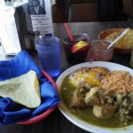 Chile Verde and a glass of Sangria
