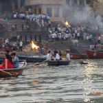 Dead being cremated on Ganga ghats for the residues to be thrown in Ganga