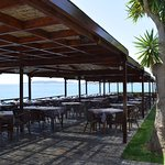 Outside tables above the sea