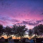 Purple sunset from Camping Pods