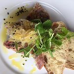 Ham Hock Terrine served with Sauerkraut and Ciabatta