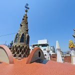 Chimneys and obelisks on rooftop of Palau Guell