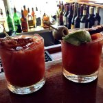 Bloody Mary's with bacon at Quicks Hole Tavern.